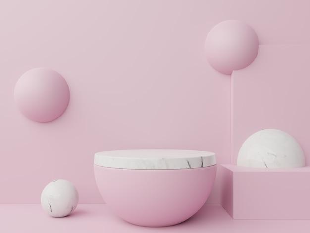 Mock up podio astratto per posizionare prodotti e per assegnare premi sul rosa Foto Premium