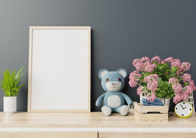Mock up poster in camera bambino interno Foto Premium