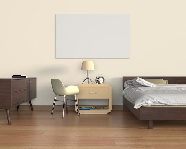 Mock up poster in camera da letto | Scaricare foto Premium