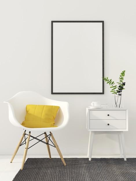 Mock up poster interno bianco Foto Premium