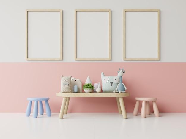 Mock up poster nell'interno della stanza del bambino, poster su bianco vuoto Foto Premium