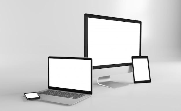 Mock up vista di un dispositivo isolato con ombra Foto Premium