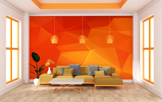 Mock up wall in room modern orange style. rendering 3d Foto Premium