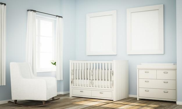 Mockup di due cornici vuote sulla parete della stanza del bambino blu Foto Premium