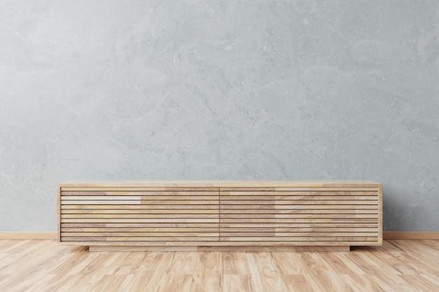 Mockup di gabinetto nella moderna stanza vuota, muro di cemento Foto Premium