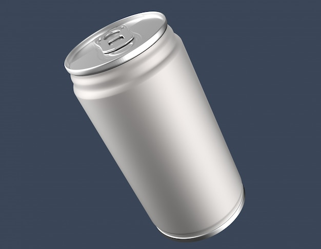 Mockup di lattina di alluminio vuoto su sfondo chiaro. Foto Premium