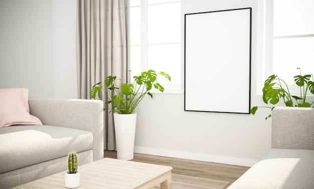 Mockup di poster in interni scandinavi Foto Premium
