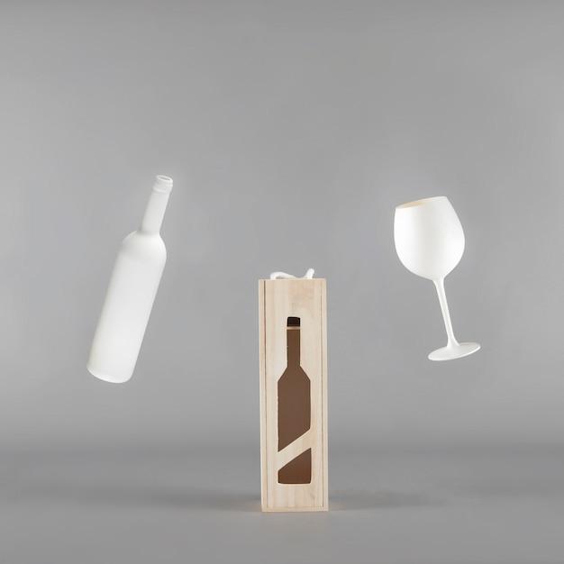 Mockup di presentazione del vino Foto Gratuite