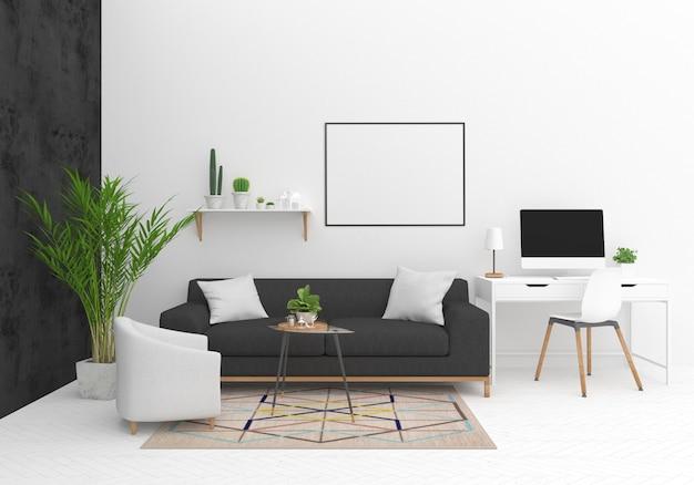 Mockup di telaio orizzontale nel soggiorno scandinavo Foto Premium