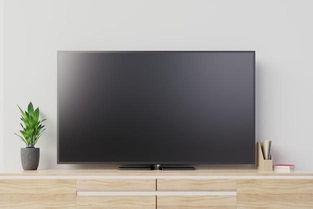 Mockup tv con schermo nero bianco sul cabinet. rendering 3d Foto Premium
