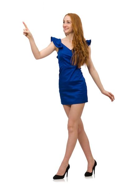 Modello alto in abito blu isolato Foto Premium