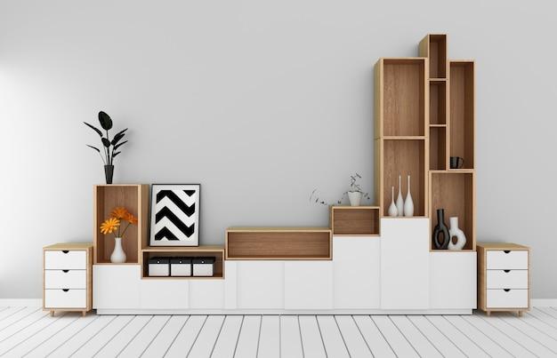 Modello del governo nella stanza vuota moderna, pavimento bianco di legno sulla rappresentazione giapponese style.3d della stanza bianca della parete Foto Premium