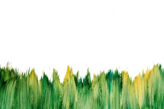 Modello della spazzola di verde dell'acquerello della pittura di azione isolato su bianco. Foto Premium