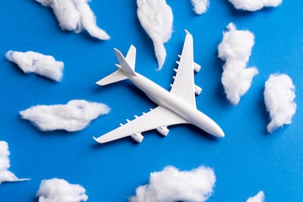 Modello di aeroplano per biglietto online e concetto di turismo Foto Premium