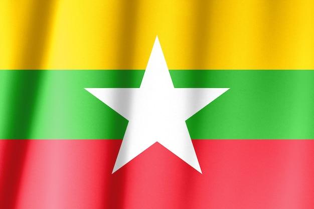 Modello di bandiera del myanmar sulla trama del tessuto, stile vintage Foto Premium