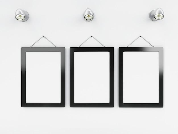 Modello di cornici vuote 3d con posto per il vostro testo e design Foto Premium