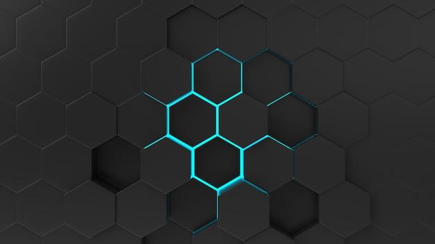 Modello di esagono astratto nero con raggi di luce. Foto Premium
