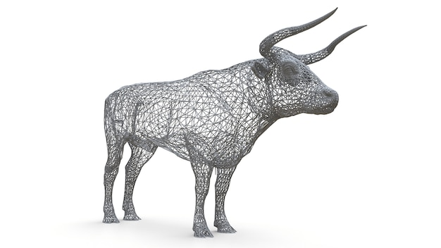 Modello di maglia tridimensionale di un toro. la figura statica di un animale calmo. una scultura di un toro della cornice poligonale Foto Premium