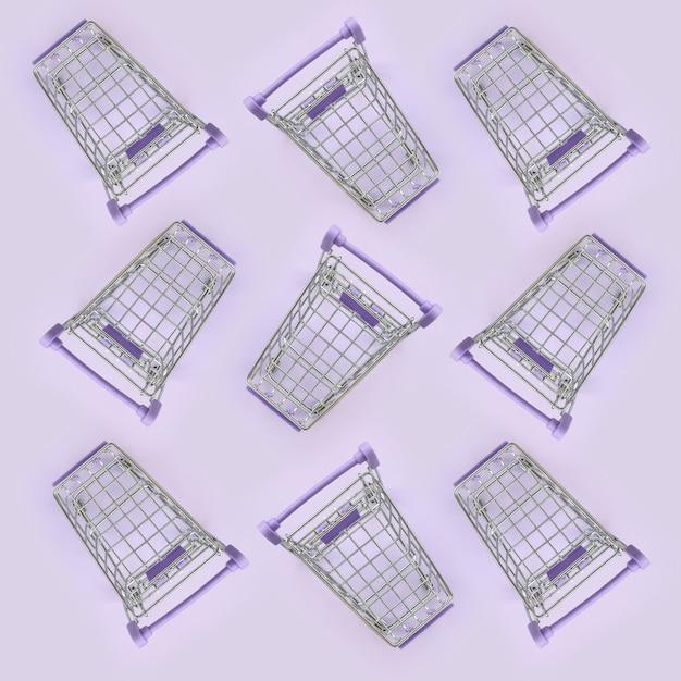 Modello di molti piccoli carrelli su una viola Foto Premium
