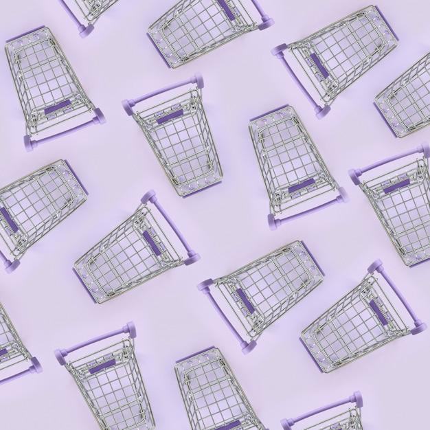 Modello di molti piccoli carrelli su uno sfondo viola. minimalismo piatto vista dall'alto Foto Premium