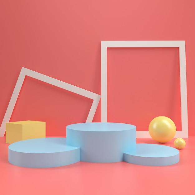 Modello di tavola di visualizzazione del palco del podio cerchio stand pastello pastello mock up minimal parete in legno composizione 3d rendering Foto Premium