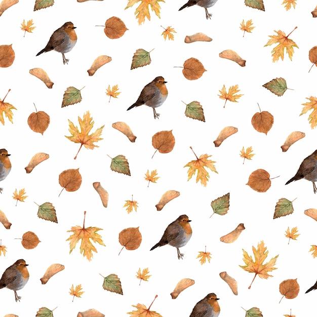 Modello senza cuciture con foglie d'autunno e uccellino robin Foto Premium