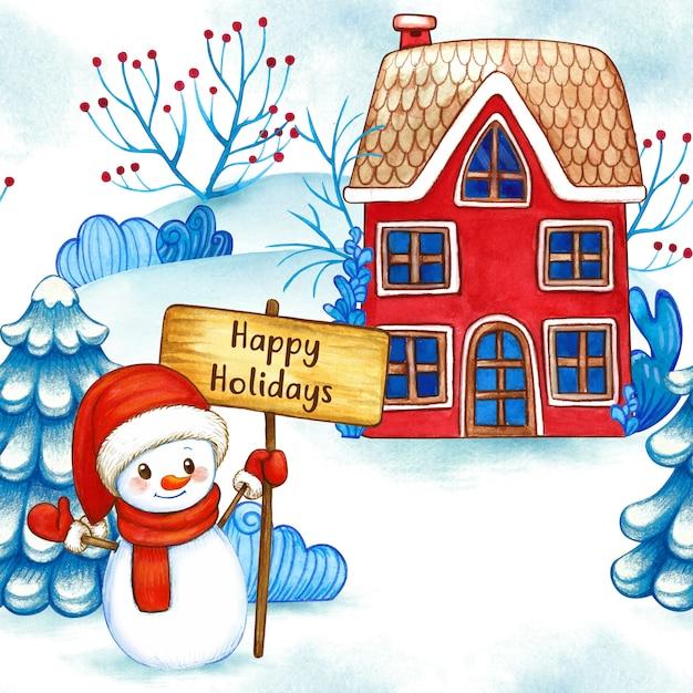 Modello senza cuciture del pupazzo di neve del paesaggio invernale dell'acquerello Foto Premium