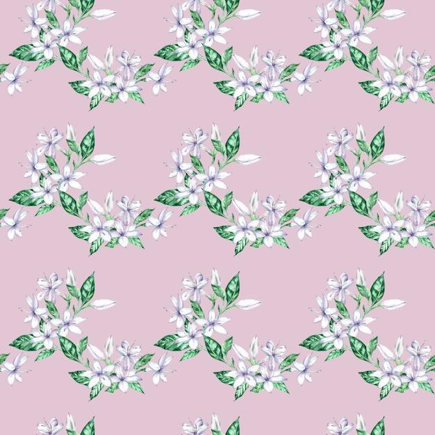 Modello senza cuciture dell'acquerello con i fiori e le foglie verdi del caffè bianco. Foto Premium