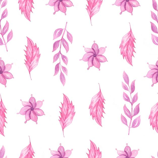 Modello senza cuciture dell'acquerello sveglio con fiori rosa Foto Premium