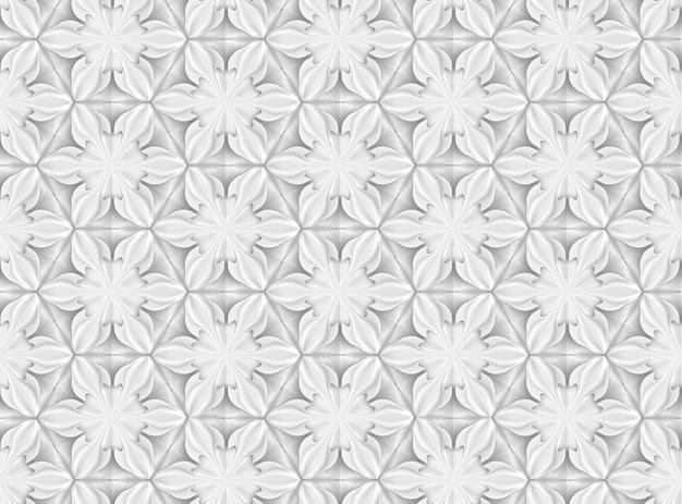 Modello senza cuciture della geometria leggera tridimensionale con sei fiori appuntiti Foto Premium