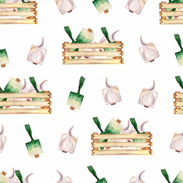 Modello senza cuciture delle verdure organiche del giardino dell'acquerello e scatola di legno. Foto Premium