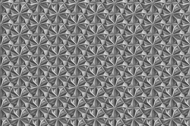 Modello senza cuciture di geometria leggera tridimensionale con fiori a sei punte Foto Premium