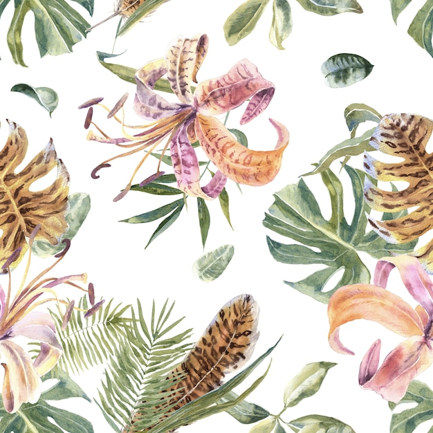 Modello senza cuciture tropicale con fiori esotici e foglie di palma Foto Premium