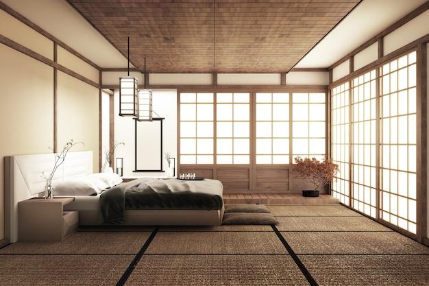 Moderna camera da letto tranquilla. camera da letto in stile zen. camera da letto serena. Foto Premium