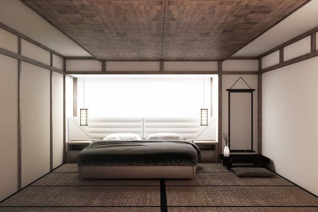 Moderna camera da letto tranquilla. camera da letto in stile zen. camera da letto serena Foto Premium