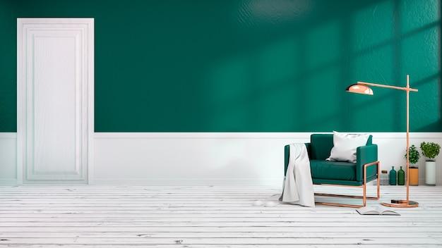 Salotto Moderno Verde : Moderno loft interno del salotto con poltrone verdi su pavimento