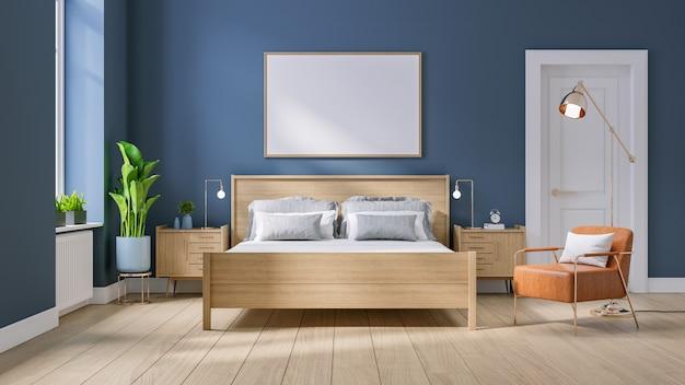 Moderno metà secolo e interni minimalisti della camera da letto Foto Premium