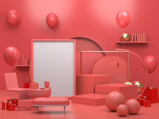 Moderno podio o vetrina minimalista, appartamento interno soggiorno con palloncini e cornice per foto Foto Premium