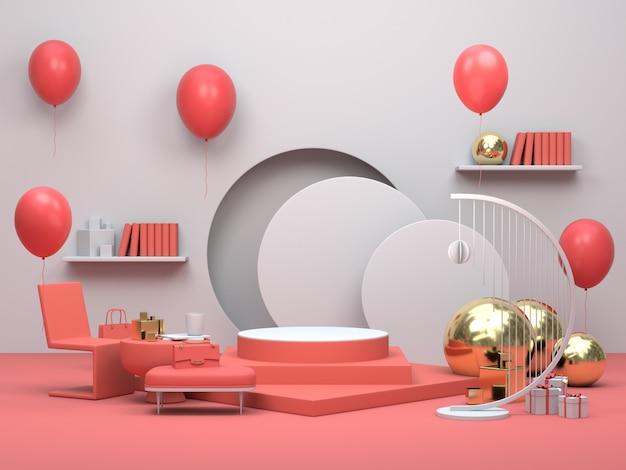 Moderno podio o vetrina minimalista, appartamento interno soggiorno con palloncini Foto Premium