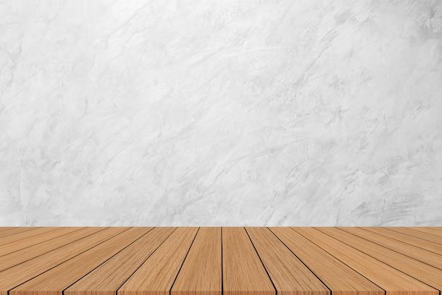 Moderno sfondo texture marmo bianco con pavimento in legno per spettacolo, promozione, banner pubblicitari sul display Foto Premium
