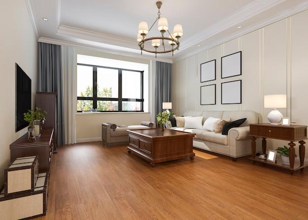 Moderno soggiorno classico con lampadario Foto Premium