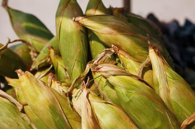Molte pannocchie di mais nel carrello. righe di grano nel guscio, giacciono in pile. cibo di strada indiano, asiatico. spiaggia al tramonto di goa Foto Premium