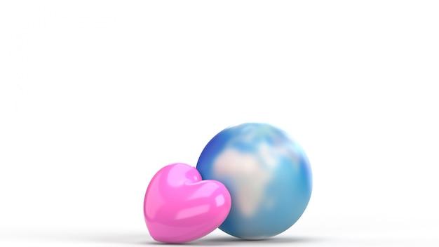 Mondo e cuore rosa per i contenuti delle vacanze. Foto Premium