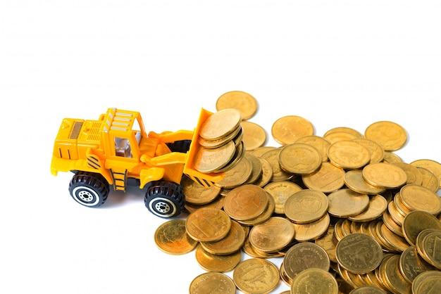 Moneta della pila di caricamento del camion del mini bulldozer Foto Premium