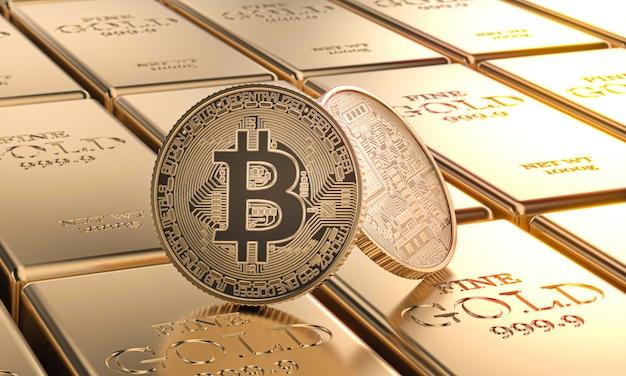 Monete d'oro bitcoin posate su lingotti. concetto di criptovaluta e denaro. Foto Premium