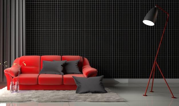 Divano Rosso E Nero : Mosaico nero sul muro nel soggiorno con divano rosso e moquette