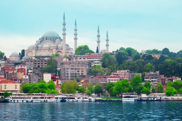 Moschea di suleymaniye sulla spiaggia della spiaggia a costantinopoli Foto Premium