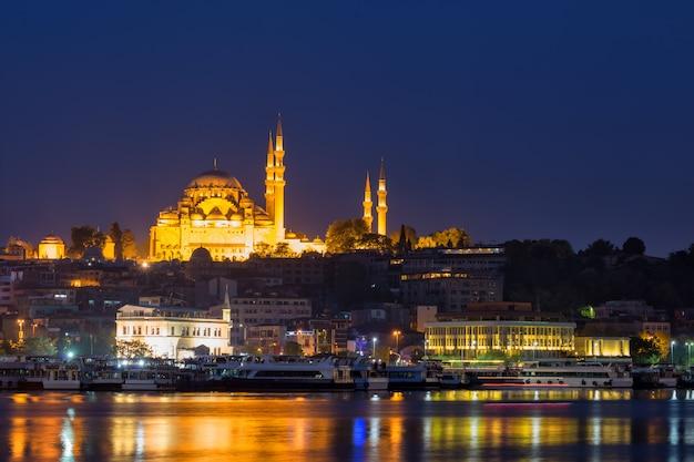 Moschea suleymaniye sulle rive del bosforo di notte Foto Premium