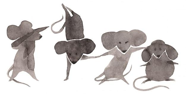 Mouses svegli messi su fondo bianco Foto Premium
