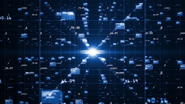 Movimento del flusso di dati digitali. Foto Premium